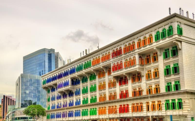 Het Oude Politiebureau van de Heuvelstraat, een historisch gebouw in Singapore stock foto's