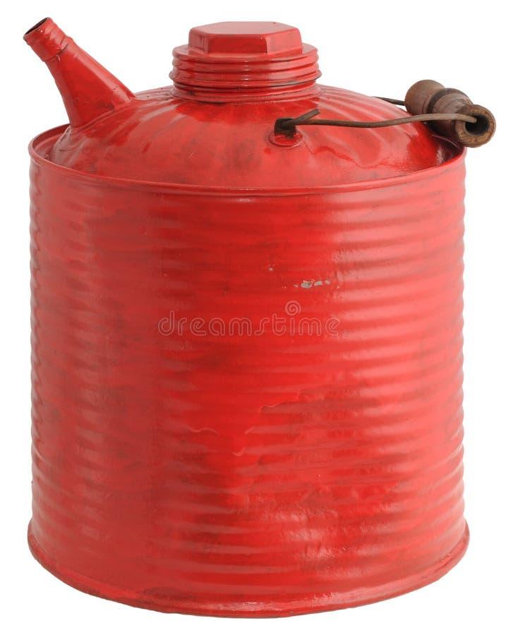 Het oude rode gas kan stock afbeeldingen