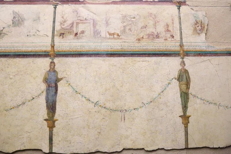 Het oude roman mozaïek in Nationaal Roman Roman Museum, Italië stock fotografie