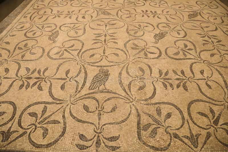 Het oude roman mozaïek in Nationaal Roman Roman Museum, Italië royalty-vrije stock foto's
