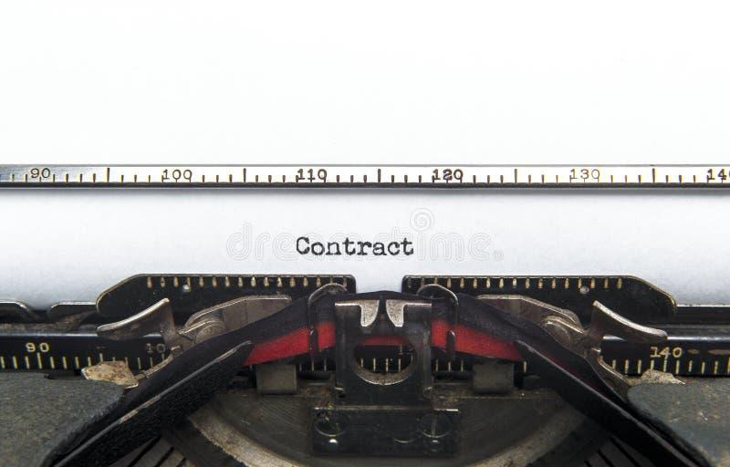 De Schrijfmachine van het contract stock fotografie