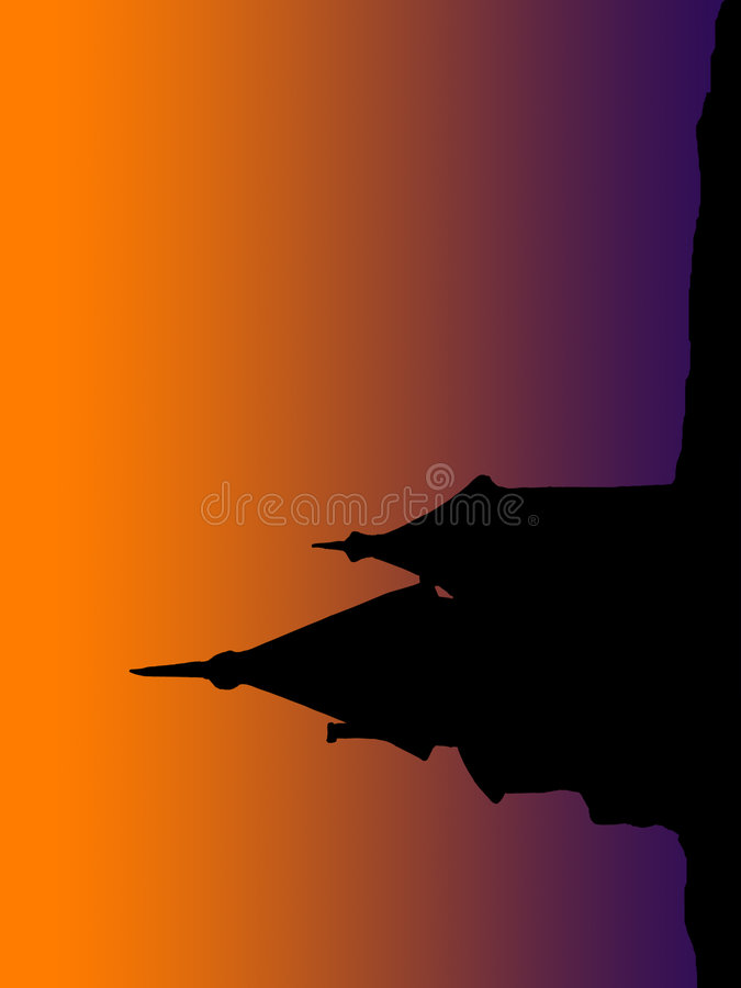 Het oude silhouet van de Bouw bij onderbreking van Dawn royalty-vrije stock afbeelding