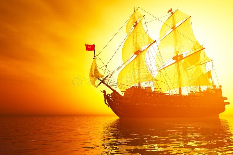 Het oude Slagschip in het Overzees in de 3D Zonsopgang van de Zonsondergang geeft terug royalty-vrije illustratie