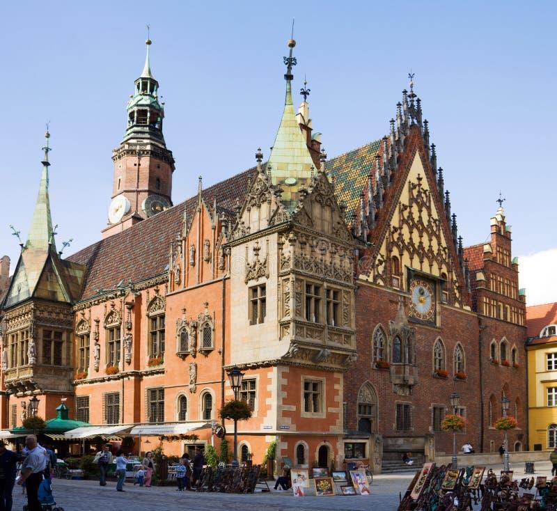 Het oude Stadhuis op het Marktvierkant in Wroclaw-stad in Po royalty-vrije stock fotografie