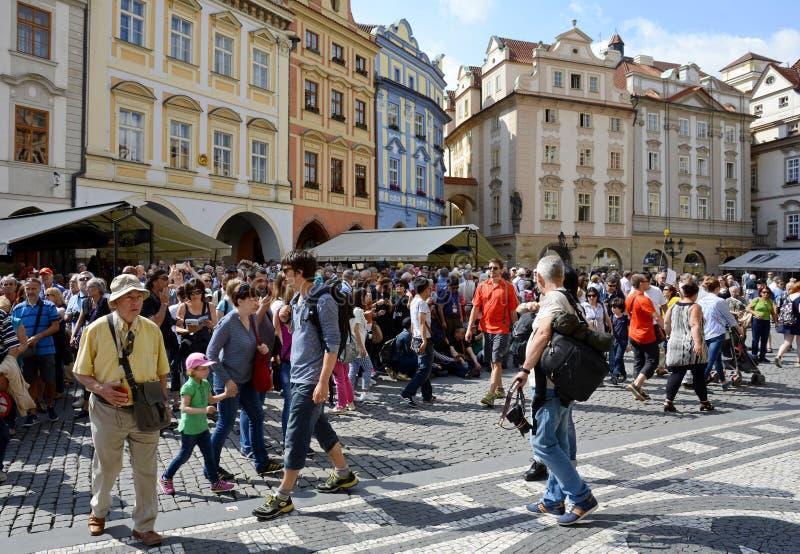 Het oude Stadsvierkant is het belangrijkste vierkant van Praag Het historische district van Praag in het district van Praag 1 op  royalty-vrije stock fotografie