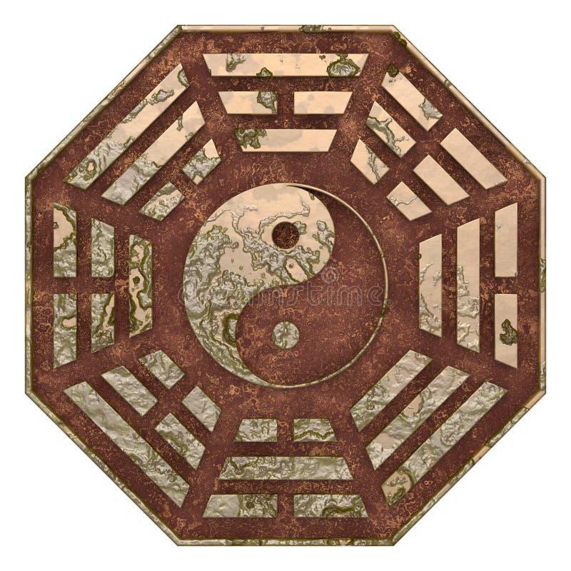 Het oude teken van roestbagua Yin Yang royalty-vrije illustratie
