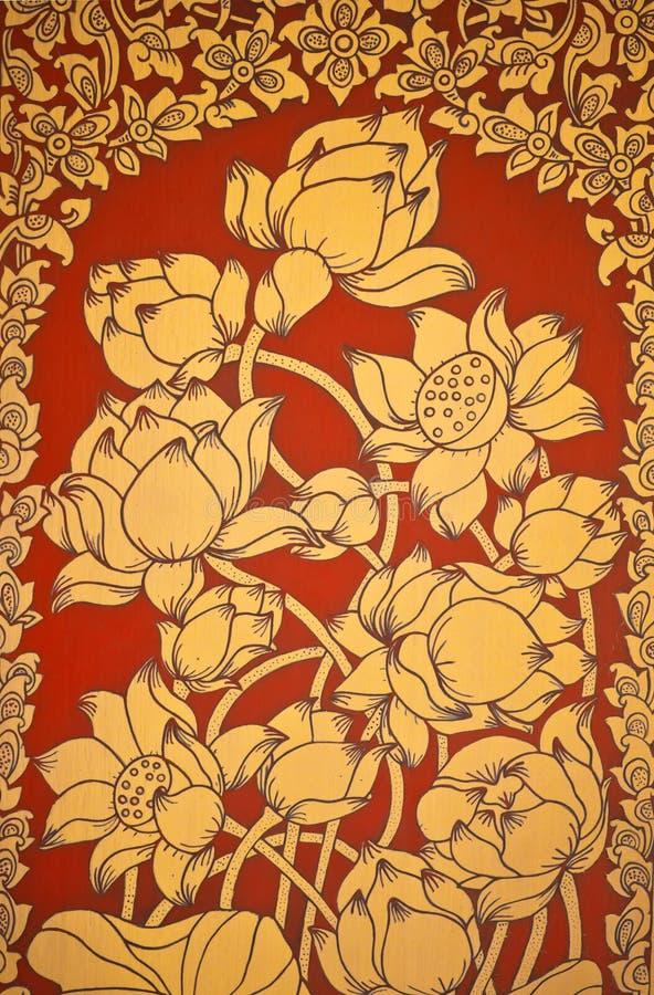 Het oude Thaise de bloem van de Muurschildering schilderen van bloemen 2 stock illustratie