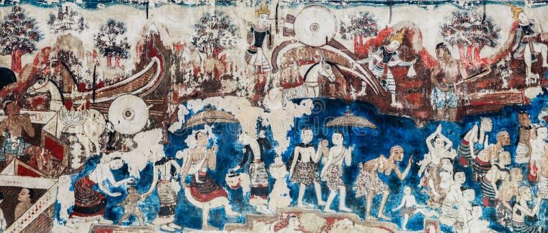 Het oude Thaise Lanna-stijlmuurschildering schilderen van het leven van Boedha royalty-vrije stock afbeelding