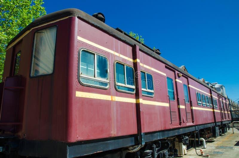 Het oude treinvervoer wordt getoond bij het Voortbewegingstechnologiepark van Workshop Australische  stock afbeelding