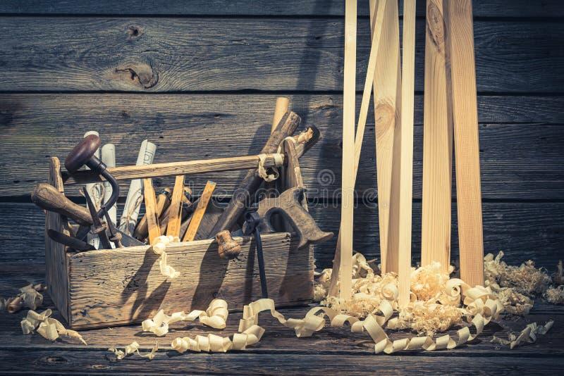 Het oude uitstekende bureau van de timmermanstekening op rustieke houten lijst royalty-vrije stock fotografie