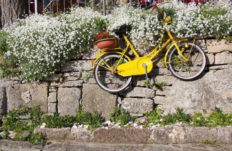 Het oude uitstekende gele fiets hangen op steenmuur onder bloemen stock fotografie