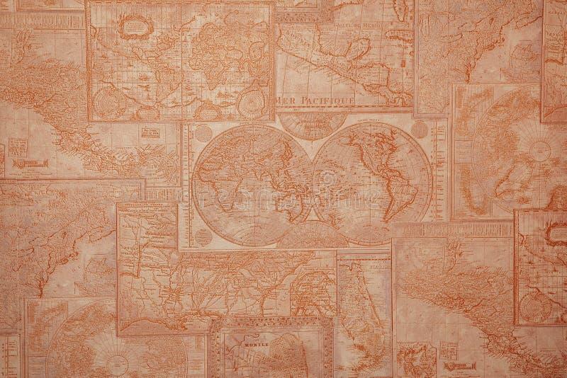 Het oude uitstekende patroon van de wereldkaart stock illustratie