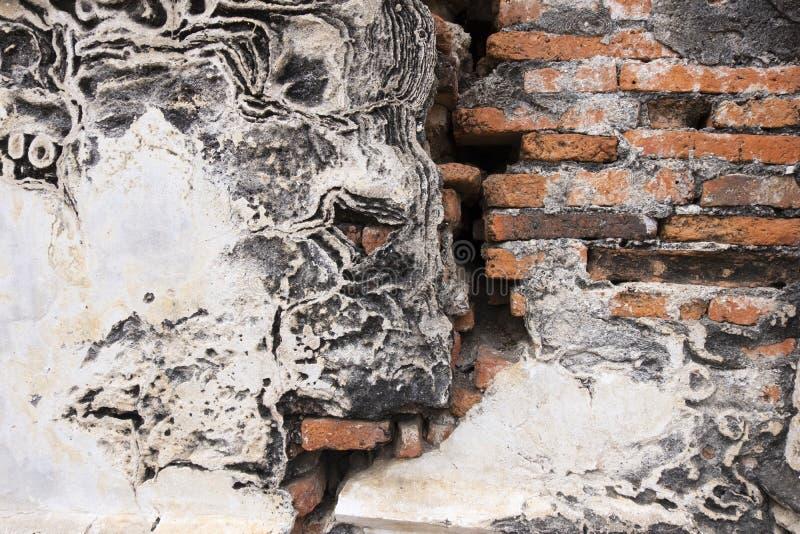 Het oude van de muurexture van het baksteencement rode oranje witte horizontale blok royalty-vrije stock fotografie