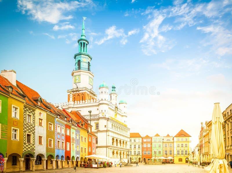 Het oude Vierkant van de Markt in Poznan, Polen royalty-vrije stock afbeelding