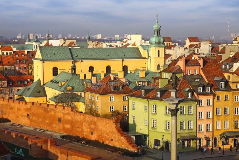 Het oude Vierkant van de Stad in Warshau, Polen stock afbeeldingen