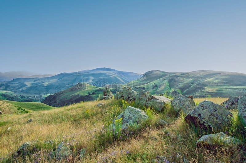 Het oude waarnemingscentrum Karahunj in Armenië ` Armeense Stonehenge ` royalty-vrije stock foto's