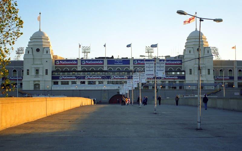 Het oude Wembley Stadium, Londen, Engeland stock afbeeldingen