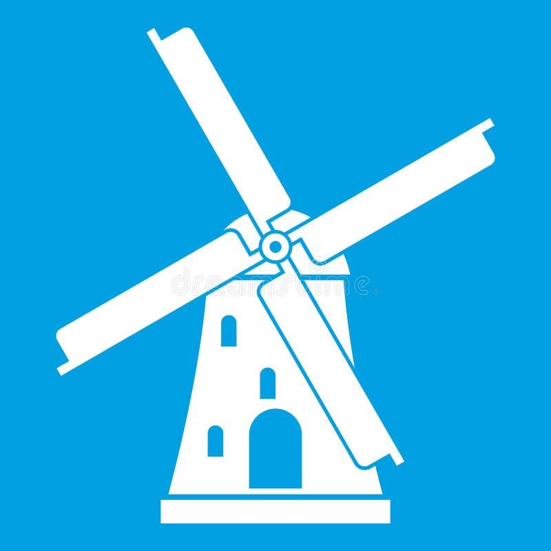 Het oude wit van het windmolenpictogram royalty-vrije illustratie