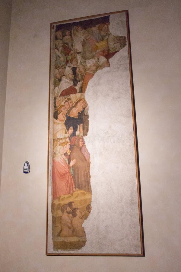 Het oude zegende zielen en vervloekte fresko'sstuk door Martino da Verona in de hogere kerk San Fermo Maggiore in Verona, Veneto, stock afbeeldingen