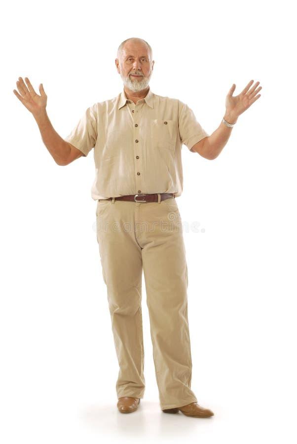 Het oudere mens spreken royalty-vrije stock afbeelding