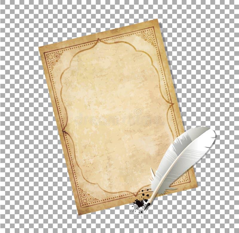 Het ouderwetse brievendocument met veerpen en de inkt ploeteren stock illustratie