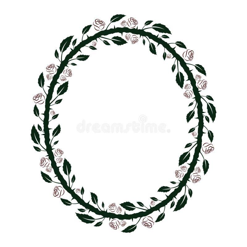 Het ovale bloemenkader met donkergroene takken met bladeren en doornen en rood nam silhouetten toe vector illustratie