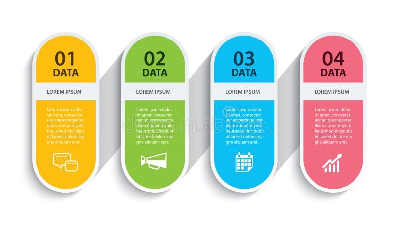 Het ovale document van de infographicschronologie met 4 gegevens horizontaal malplaatje Vectorillustratie Abstracte achtergrond k stock illustratie