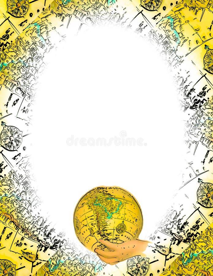 Het ovale Frame van de Wereld stock illustratie
