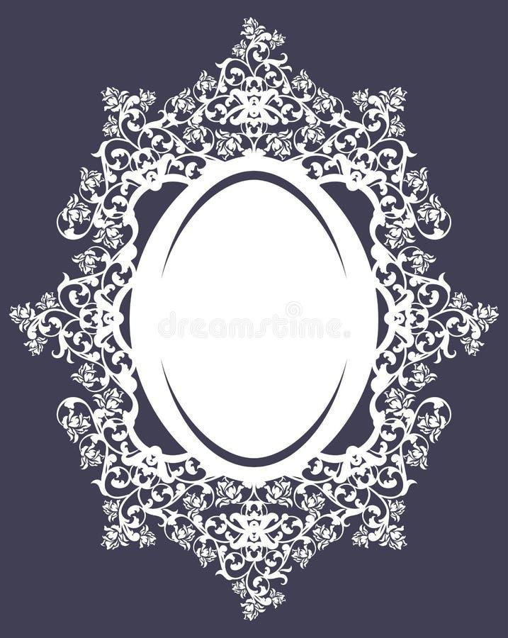 Het ovale kader met bloemenrozen siert vectorontwerp royalty-vrije illustratie