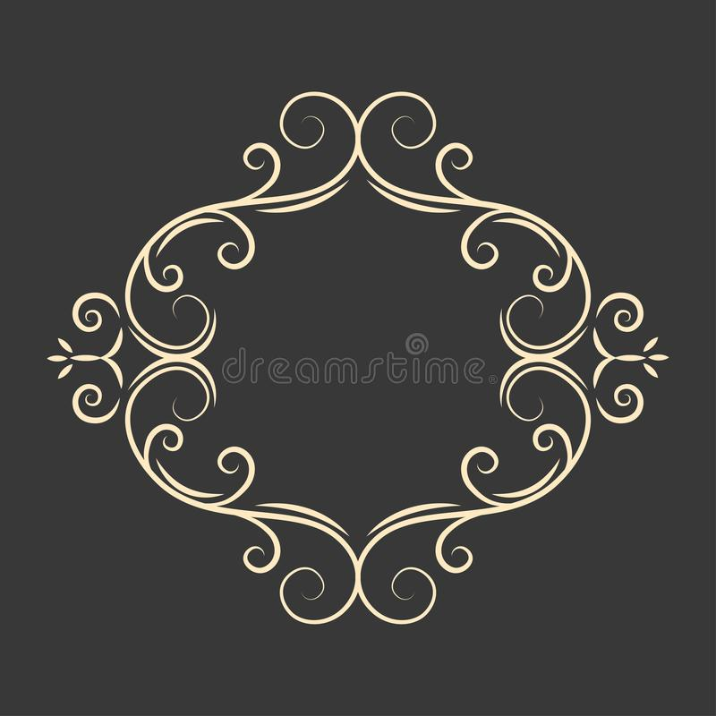 Het ovale kader van de kalligrafiekalligrafie Decoratief bloemenontwerpelement Paginagrens Uitstekende stijl Vector vector illustratie