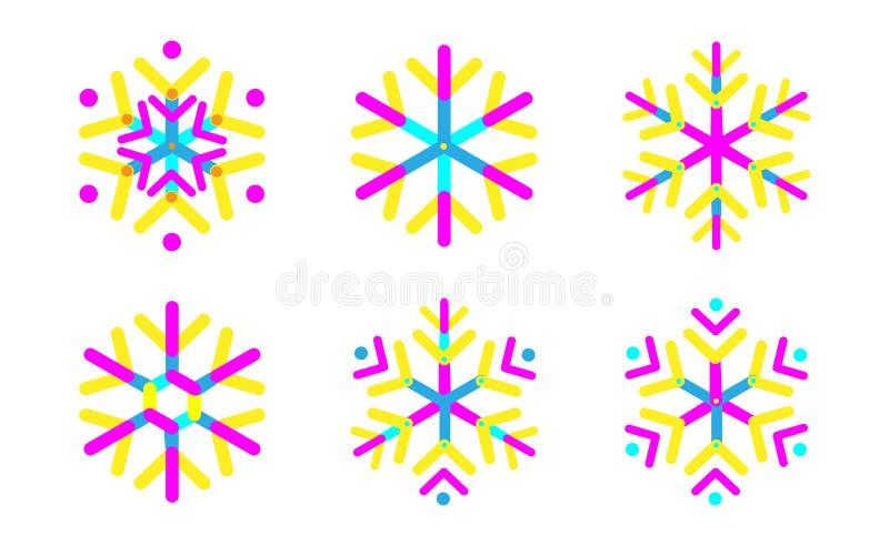 Het ovale vastgestelde pictogram van de stroken geometrische sneeuwvlok In vormensamenstelling Nieuwe het Pictogrameps10 vector v vector illustratie