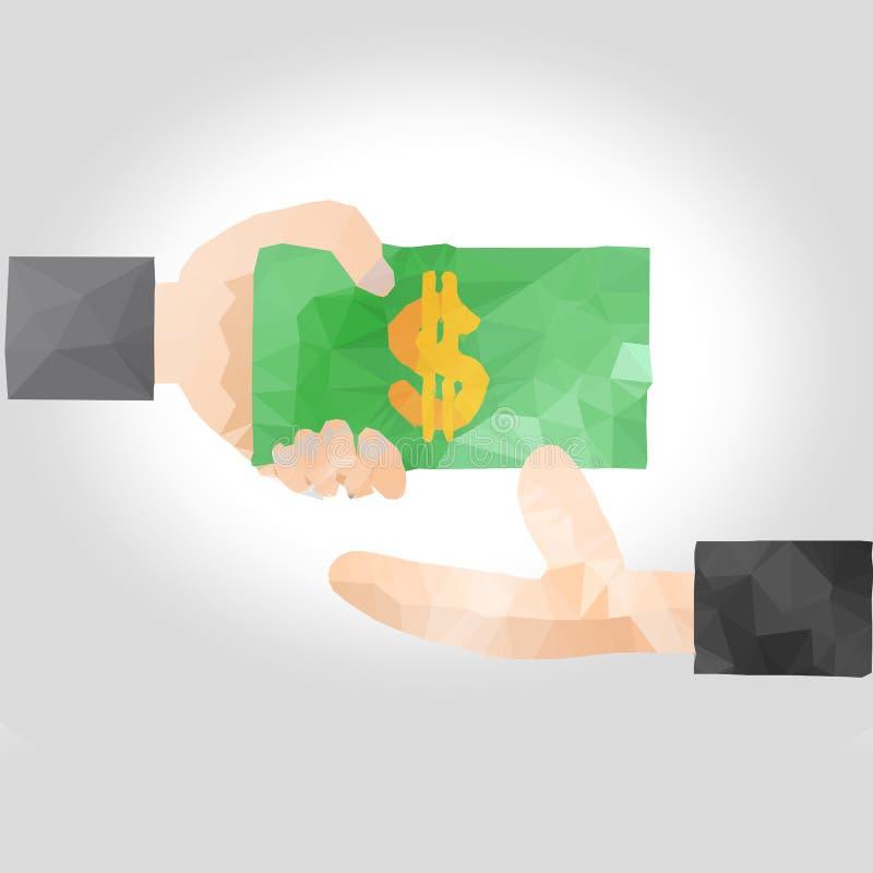Het overhandigen van de hand geld aan een andere hand stock illustratie