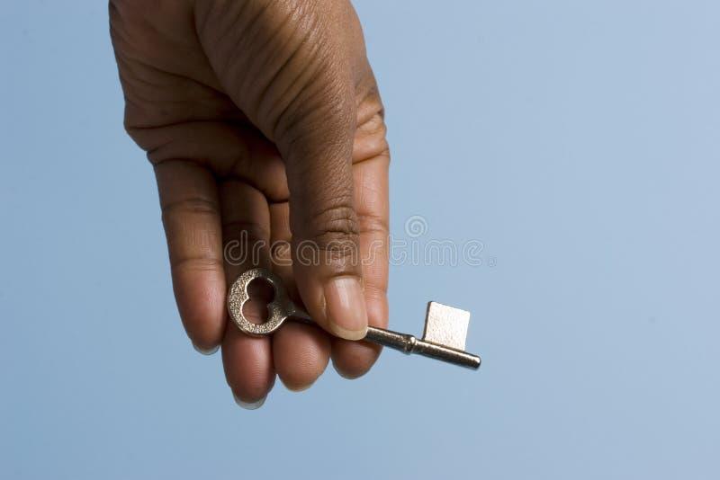Het overhandigen van de sleutel stock foto