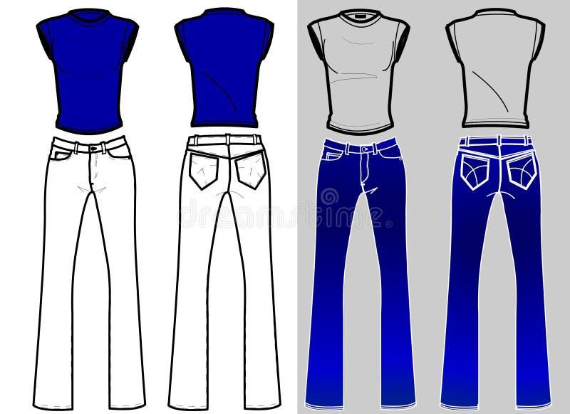 Het Overhemd & de Jeans van de Platen van de manier stock illustratie