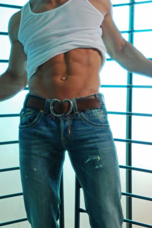 Het overhemd van het T-stuk en jeans sexy versie royalty-vrije stock afbeelding