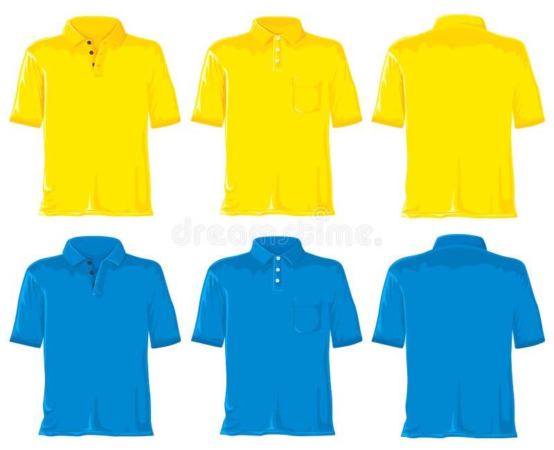 Het overhemdsreeks van het polo. Geel & blauw stock illustratie