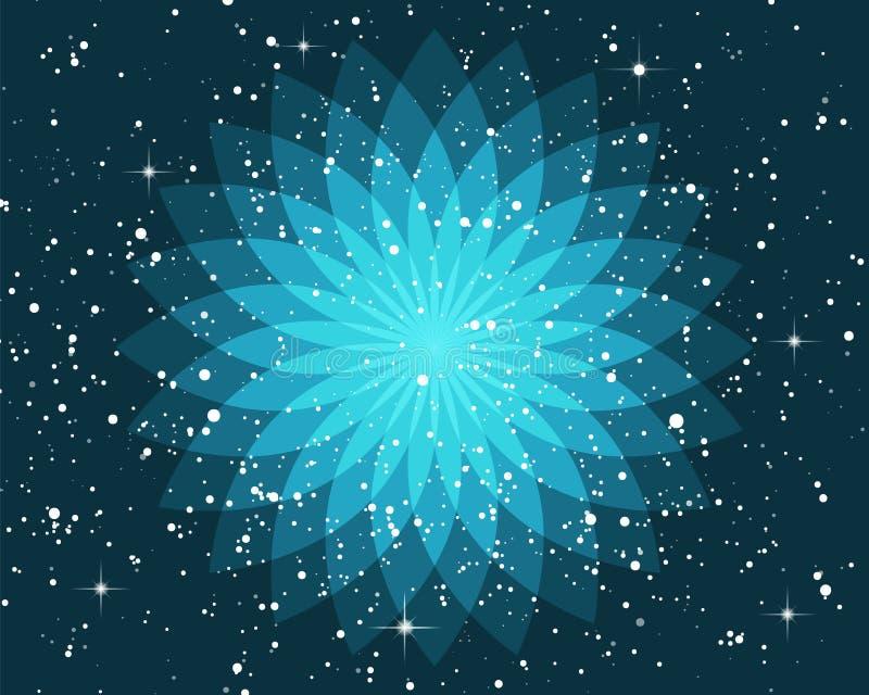 Het overladen geometrische esoterische symbool van de lotusbloembloem op mystieke sterrige nachthemel vector illustratie
