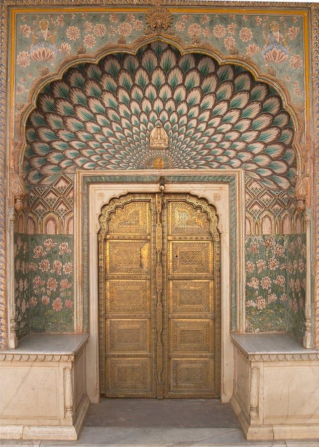 Het overladen Paleis van de Stad van Jaipur van de Deur royalty-vrije stock foto's