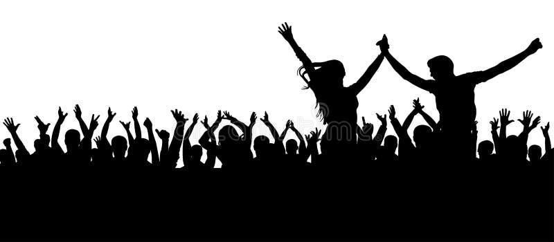 Het overleg van de ventilatorsdans, disco Vrolijk menigtesilhouet De partijmensen, juichen toe Jong paar bij een partij vector illustratie