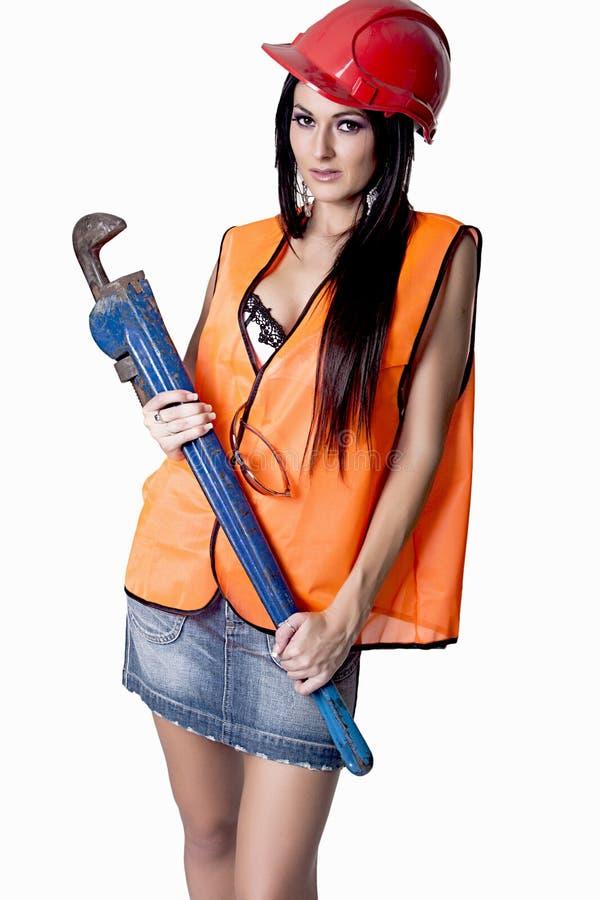 Het overweldigen van Vrouwelijk Industrieel Model stock fotografie