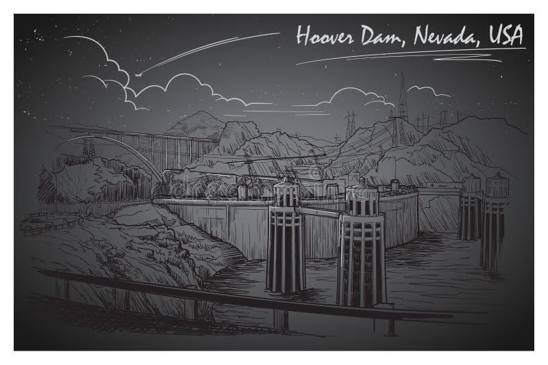 Het overweldigende panorama van de Hooverdam Zwart-witte lineaire handtekening De stijl van de schets vector illustratie