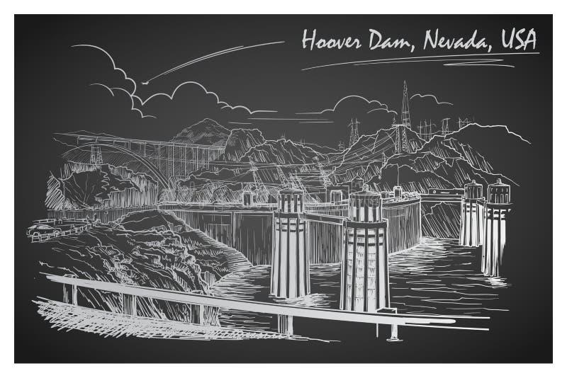Het overweldigende panorama van de Hooverdam Zwart-witte lineaire handtekening De stijl van de schets royalty-vrije illustratie