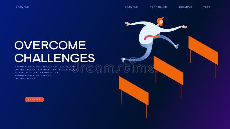 Het overwinnen van banner van het uitdagingen de isometrische concept royalty-vrije illustratie