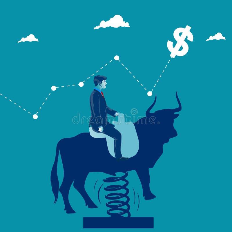 Het overwinnen van bedrijfshindernissen Zakenman die op zijn paard over hindernissen springen Bedrijfsmetafoor, vectorillustratie vector illustratie