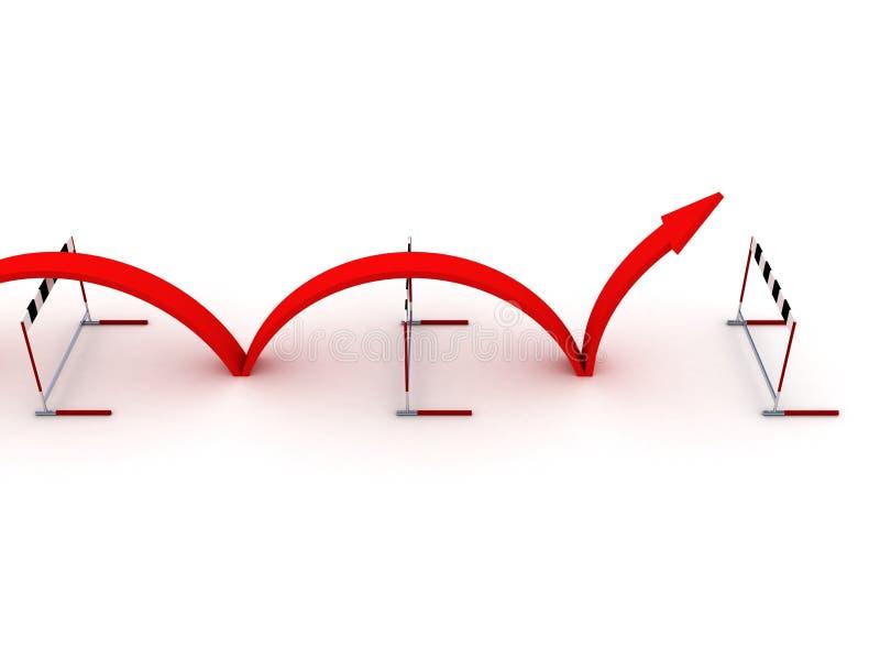 Het overwinnen van het concept van het barrièressucces stock afbeelding