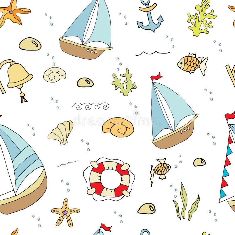 In het overzees, een kleine schipachtergrond vector illustratie