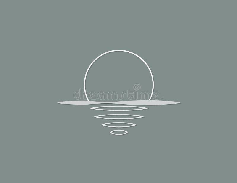 Het overzees en de zon met bezinning over de oppervlakte van het oceaan witte kleurenembleem voor commerciële organisatie vectori vector illustratie
