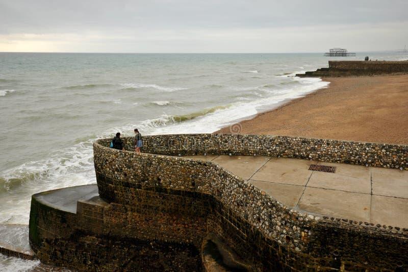 Het overzees van Brighton in de wintertijd, Engeland stock foto