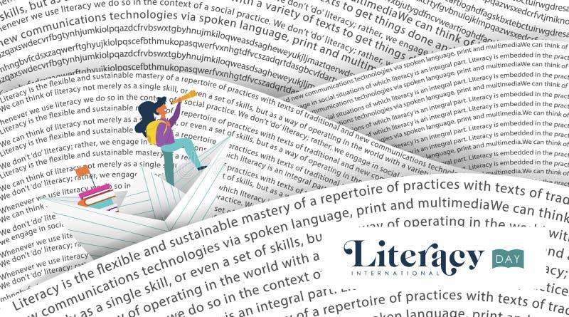 Het overzees van het de bannerboek van de geletterdheidsdag voor jonge geitjesonderwijs vector illustratie