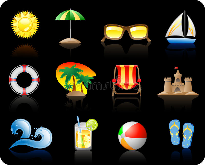 Het Overzees van de zon en achtergrond Beach_black vector illustratie